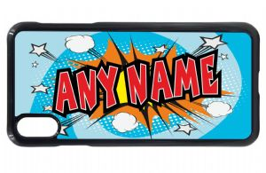 Personalised Retro Blue Comic Book Kapow Boys (Any Name) Design Mobile Phone Case To Fit iPhone